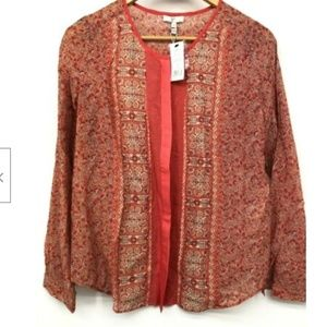 NWT Joie Womens Button Down Floral Blouse Peasant